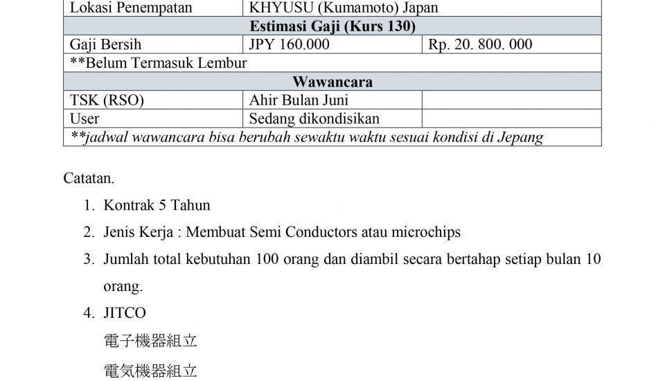 lowongan kerja ke Jepang bidang manufacture